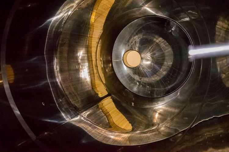 Inside a giant wine tank