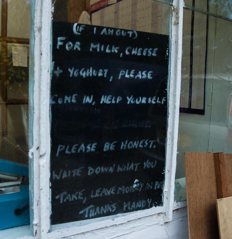 An honesty sign on Guernsey