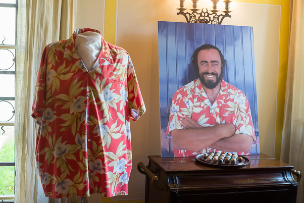 Pavarotti's shirt and portrait with shirt in n Museo Pavarotti, Italy
