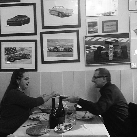 A couple eating dinner in Il Fantino restaurant, Modena, Italy