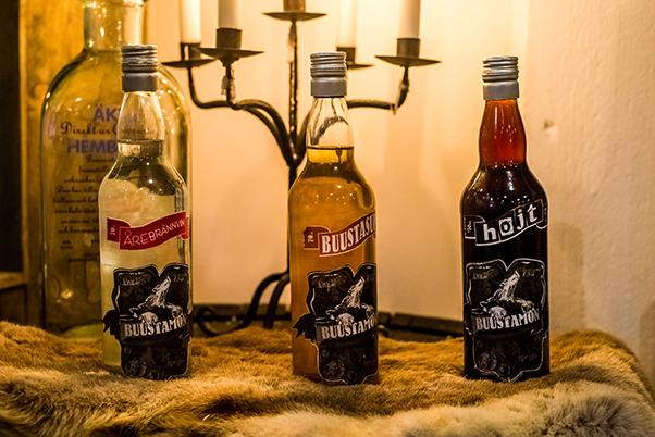 Bottles of snaps at the Buustamon hotel Sweden