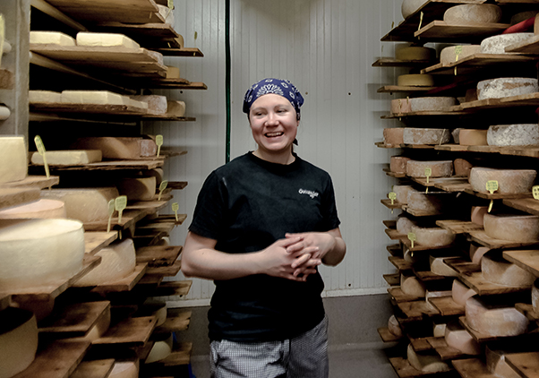 A cheesemaker in the dairy at Oviken Ost Sweden